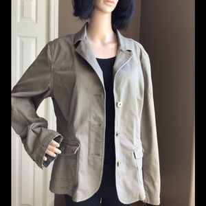 Lady Hathaway Jean Jacket - light olive/grey color